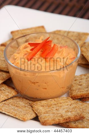 hummus dip and crackers
