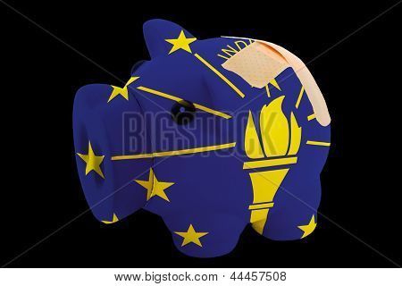 Bankrupt Piggy Rich Bank In Colors Of Flag Of American State Of Indiana    Closed With Bandage