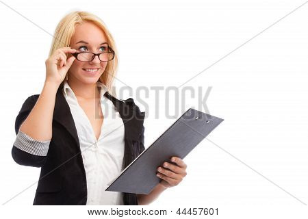 Young Woman With Checklist And Glasses