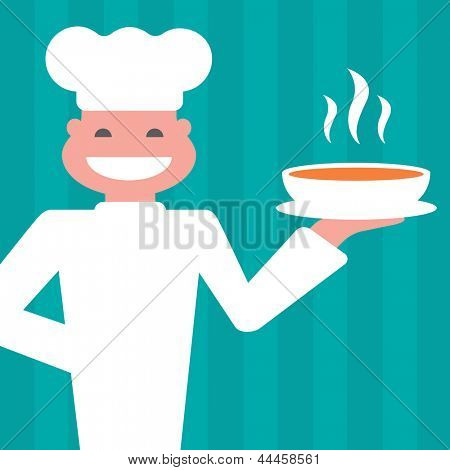Smiling chef to serve a hot meal