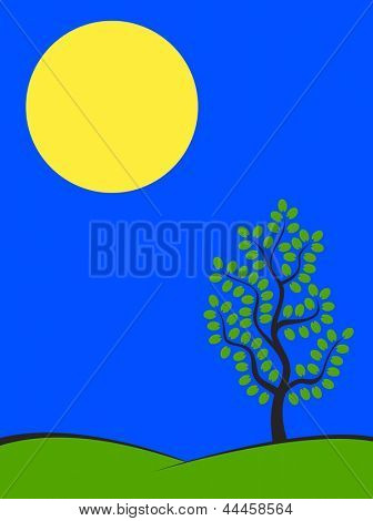 Big moon over green hills with tree at spring night