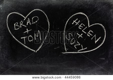 Gay Love Hearts on a Blackboard