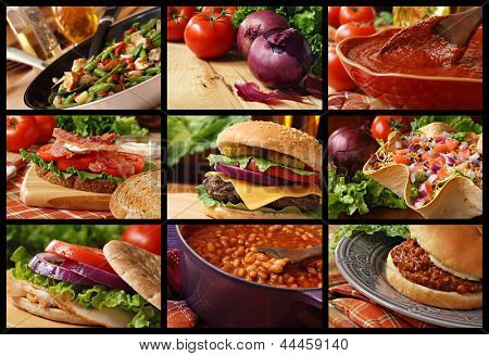 Colorful food collage includes veggie stir fry, cheeseburger, taco salad, blt sandwich, turkey sandwich, sloppy joe sandwich, baked beans, and freshly prepared pasta sauce.