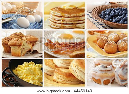 Breakfast food collage includes pancakes, eggs and bacon, biscuits, scrambled eggs, cinnamon muffins, fresh blueberries, pancake balls, and cinnamon rolls with icing.