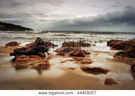 Stormy Beachfront With Wood Stump