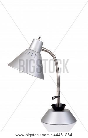 Silver gooseneck lamp
