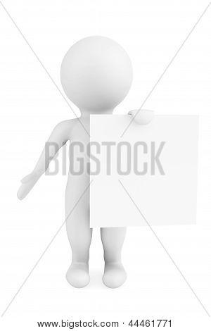 3D Man Holding Blank Paper
