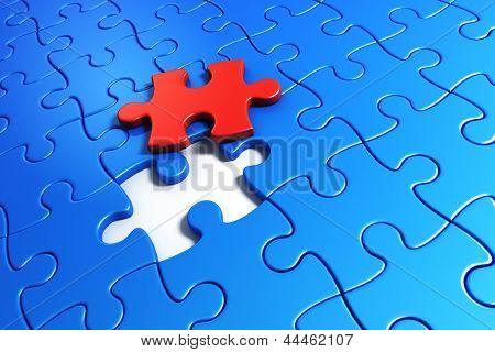 3d rendering of blue puzzle pieces with one red piece lifted up