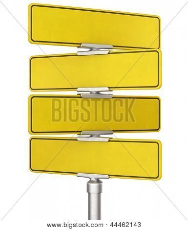 3d rendering of blank yellow traffic signs
