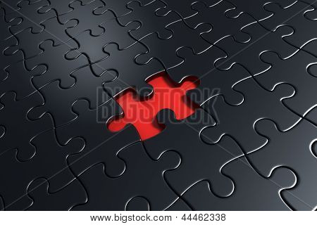 3d rendering of black puzzle pieces with one piece missing in the middle