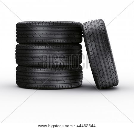 3d rendering of a 4 car tires on a white background