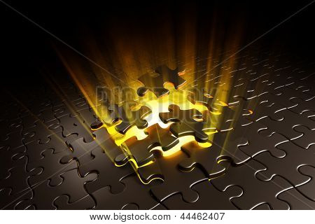 3d rendering of puzzle pieces exploding with yellow volume light shining behind