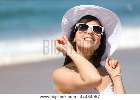 Happy Woman On Beach Vacation