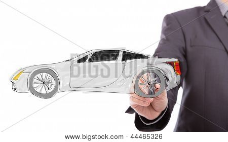Business hand draw new car