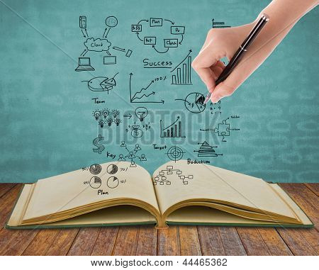 Magic book with business concept and graph