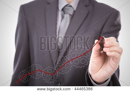 Businessman hand drawing gear to success concept