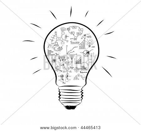 Light bulb with drawing graph inside