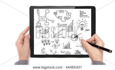 Businessman hand drawing graph on  touch screen tablet