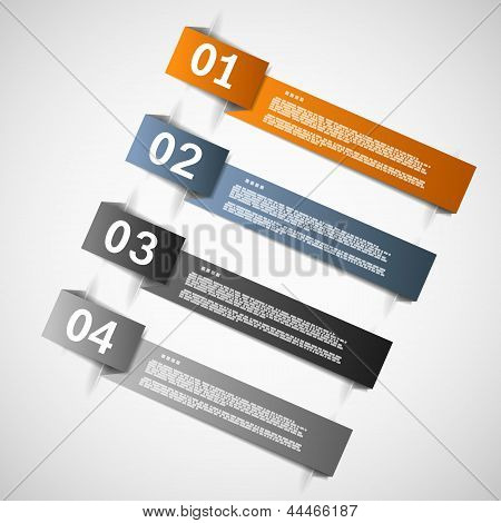 Color Paper Templates For Progress Or Versions Presentation Eps10 Vector Illustration