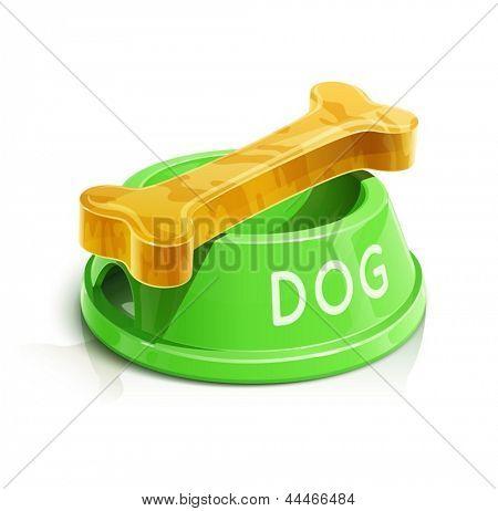 Kom met bot voor een hond vectorillustratie geïsoleerd op een witte achtergrond EPS10. Transparante objecten een