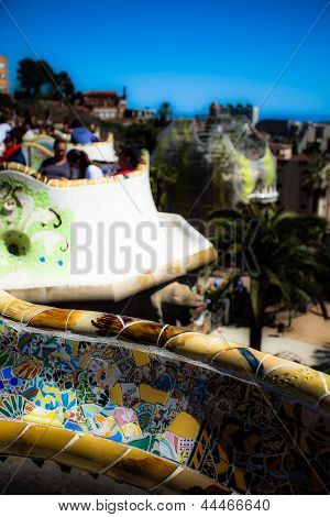 Barcelona,spain-april 13: Detail Of The Bench In The Park Guell, Designed By Antonio Gaudi, On April