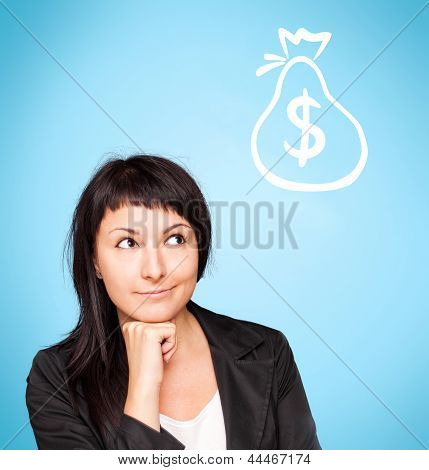 Beautiful Young Woman Think About Money