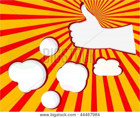 A Hand On The Sun Rays With Clouds In The Orange Background, art illustration