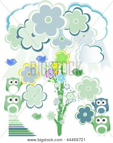 Birthday Party Card With Cute Birds And Owl On Trees And Flowers