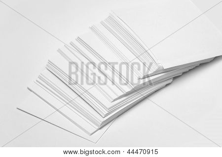 Paper records on a white background