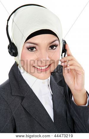 Beautiful Muslim Woman On The Phone
