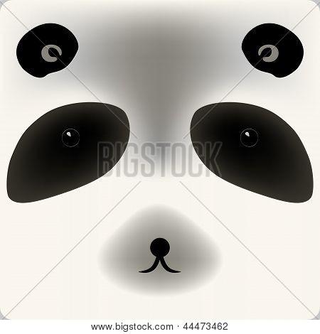 Cute cartoon panda bear face, vector background for a card