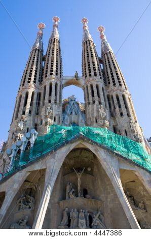 Sagrada Familia Temple With Carvings