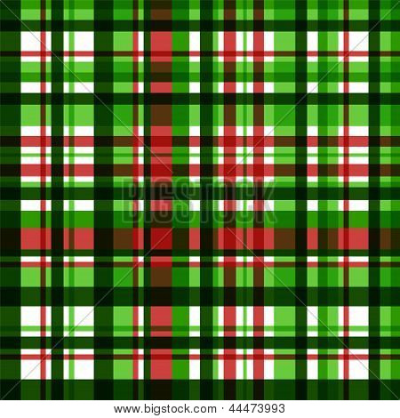 Colorful green checkered fabric seamless pattern, vector