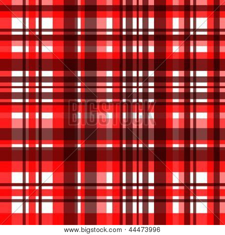 Colorful red checkered fabric seamless pattern, vector