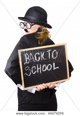 Young Woman With Chalk Board