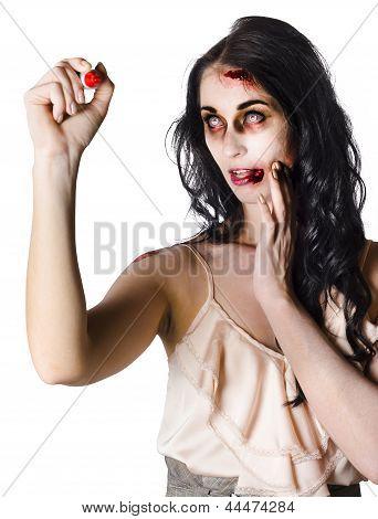 Halloween Zombie Woman Writing Message