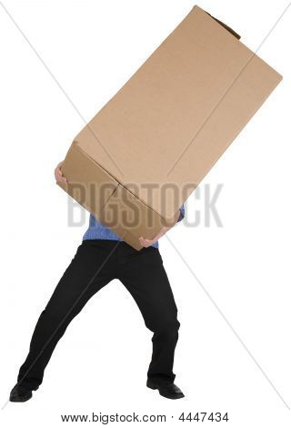 Man Holding Big Cardboard Box