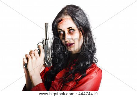 Killer Female Zombie With Hand Pistol
