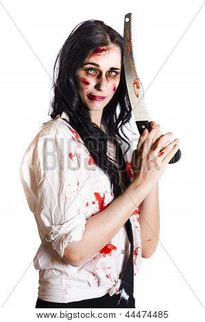 Crazy Zombie With Butcher Saw