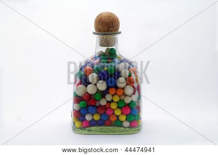 Bottle Of Colorful Gumballs