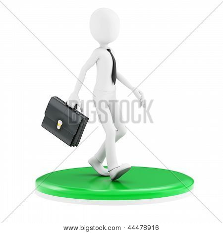 3D Man Business Walking On Green