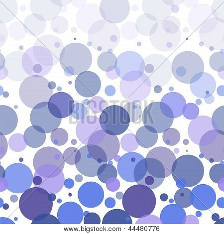 Colorful blue bubbles abstract seamless pattern on white, vector