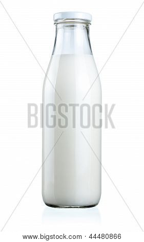 Bottle Of Fresh Milk Isolated On A White Background