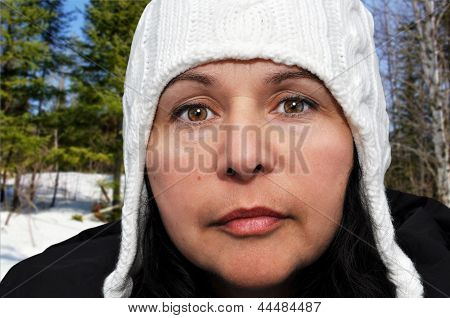 Portrait Of A Woman With Winter Hat