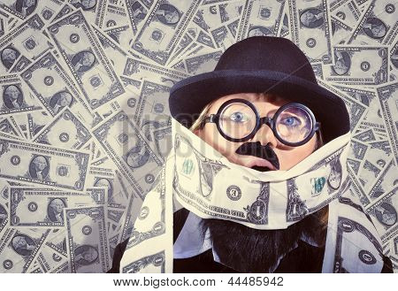 Stressed Business Man Drowning In Financial Debt