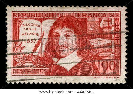 Vintage französischen Stempel mit Rene Descartes