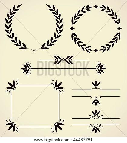 Conjunto de elementos de Design e decoração de página.
