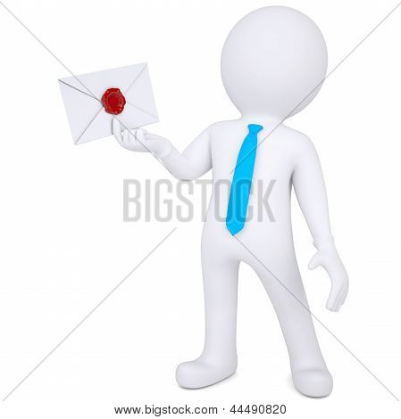 3d man holding an envelope in his hand