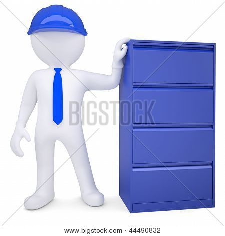 3d man in a hard hat next to a metal cabinet
