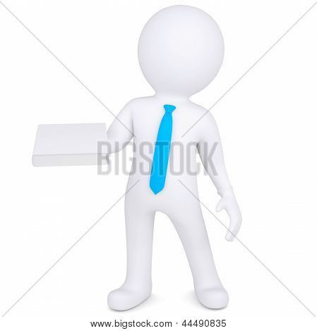 3d man holding a white paper in his hand